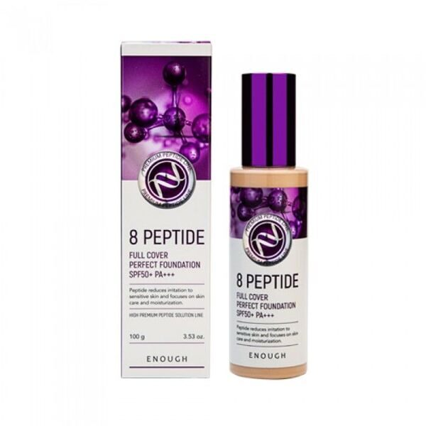 ENOUGH ТОНАЛЬНАЯ ОСНОВА ДЛЯ ЛИЦА С ПЕПТИДАМИ 8 PEPTIDE FULL COVER PERFECT FOUNDATION SPF50+ PA+++ №13, 100 G